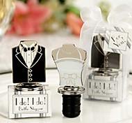 noiva favor do casamento e bujão noivo vestido de design garrafa de vinho, conjunto de 2