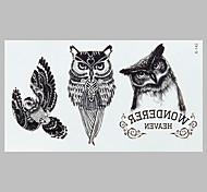 tatuaje de la manera búho negro pegatinas impermeable tatuaje