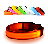 New  Glow LED Dog  Cat Flashing Light Up Nylon Collar Night Safety Pet Collars 7 Color S-XL Size