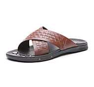 Aokang Men's Leather Slippers Brown