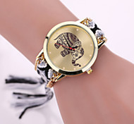Women Fabric Weave Band Analog Quartz Elephant Case  Wrist Bracelet Watch Jewelry Strap Watch