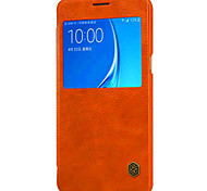 For Samsung Galaxy Case with Windows / Flip Case Full Body Case Solid Color Genuine Leather Samsung J5 (2016)