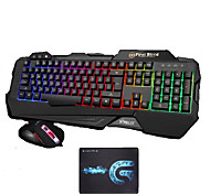 USB Wired Backlights Gaming Keyboard 2400DPI Mouse and Pad 3 Pieces a Set