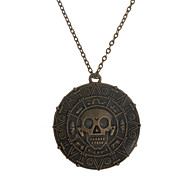 Europen Style Alloy Skull Face Round Shaped Pendant  Necklace