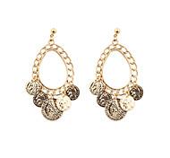 Fashion Women Trendy Beauty Head Disc Drop Earrings