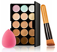 15 Color Concealer Palette + Wooden Handle Brush + Sponge Puff Makeup Base Foundation Concealers for Makeup