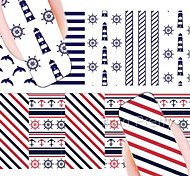 BORN PRETTY  Anchor Stripe Nail Art Water Decals Transfer Stickers