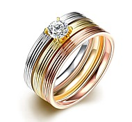 Fashion Unisex Stright Stripes White Zircon Gold-Plated Titanium Steel Couple Rings(Golden,Rose Gold,Silver)(1Pc)