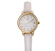 Lady's White Case Leather Band Analog Wrist Watch Jewelry Cool Watches Unique Watches