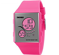 Lady's Mirror Face Slim LCD Digital Rubber Band Sport Watch