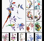 12pcs de la flor calcomanía de pájaro chino tradicional de pintura de oropéndola pegatina tatuaje temporal a prueba de agua para el arte,