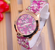 Women's Fashionable Flower Garden Style Silicone Watch  Silicone Band