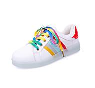 Zapatos de mujer-Tacón Plano-Punta Redonda-Sneakers a la Moda-Exterior / Casual / Deporte-Semicuero-Blanco