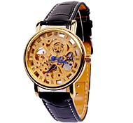 Men's Skeleton Watch Fashion Round Golden Plate Automatic Mechanical Watches Men's Belt Wrist Watch Cool Watch Unique Watch