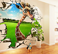 JAMMORY 3D Cartoon Giraffe Large Mural Animals / Cartoon Wall Stickers 3D Wall Stickers,Canvas S M L XL XXL 3XL