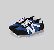 Women's Shoes Leatherette Spring / Fall / Winter Round Toe Outdoor / Casual / Athletic Flat Heel Lace-up Black / Blue / White