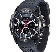Luxury OTS Sport Watch Auto Date Day LCD Alarm Black Rubber Band Quartz Military Men Digital Watches Fashion Watch