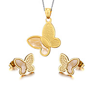 Women's Butterfly Style 18K Gold Plated Necklace Earrings Jewelry Set