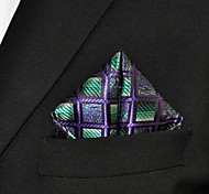Men Checked Fuchsia  Green 100% Silk  Pocket Square Business Fashion