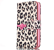 For iPhone 5 Case Wallet / Card Holder / with Stand / Flip / Pattern Case Full Body Case Leopard Print Hard PU Leather iPhone SE/5s/5