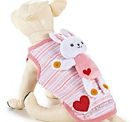 Lovely Heart Strip Pet Fleece Coat with Rabbit Toy