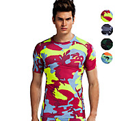 Vansydical® Men's Short Sleeve Running Tops Breathable Spring Summer Sports Wear Exercise & Fitness LYCRA® Green Red Gray Orange