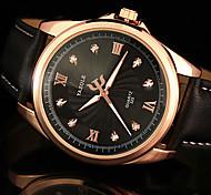 YAZOLE® Men's Dress Watch Quartz Noctilucent Leather Band Black / Brown Brand