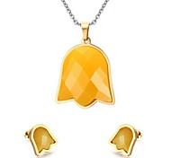 Women's Cute Bell Style Gold Necklace Earrings Jewelry Set