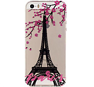 TPU Eiffel Tower Pattern Transparent Soft Back Case for iPhone SE 5s 5