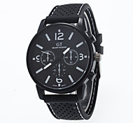 Men's European Style Fashion Round Black Case Fashion Silicone Wrist Watch