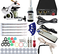 Professional Complete 1  Tattoo Machine Kit 1PCS Ink Power Supply Needle Grips Tips