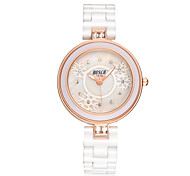 Women's Fashion Watch Simulated Diamond Watch Water Resistant / Water Proof Casual Watch Quartz Ceramic Band White