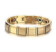 Men's Luxury Jewelry Health Care Gold Stainless Steel Magnetic Bracelet
