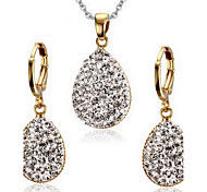 Women's Rhinestone Drop Style Gold Alloy Necklace Earrings Jewelry Set