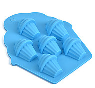 6 Holes Ice Cream Silicone Mold Chocolate Handmade Soap Mould Ice Cube Cake Tools Random Color