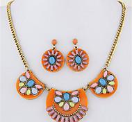 Women European Style Fashion Colorful Geometric Metal Necklace Earrings Set