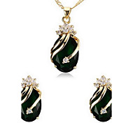 Women's Green Cubic Zirconia Necklace Earrings Jewelry Set