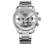 Masculino Relógio Elegante Quartz LED / Calendário / Relógio Casual Aço Inoxidável Banda Preta / Branco marca