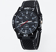 Men's European Style Fashion Round Black Case Fashion Silicone Casual Watch