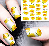 Fashion Printing Pattern Water Transfer Printing Sunflower Nail Stickers