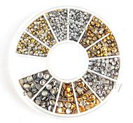 500pcs 1,2 milímetros / 2 milímetros / mini-ouro 3 mm e parafuso prisioneiro de strass decoração redonda prata da arte do prego