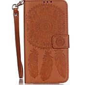 Campanula Color Double-sided Embossed Card Holder Lanyard PU Leather Phone Case for LG G5