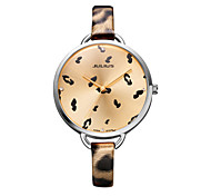 Julius® Korea Special Dial Design Leather Belt Women Watch Fashion Waterproof Quartz Watch JA-254
