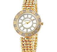 Mulheres Relógio de Moda Simulado Diamante Relógio Quartzo Relógio Casual Lega Banda Prata Dourada Prata Dourado Marron-Dourado