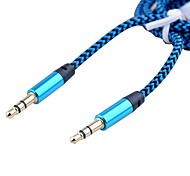 3.5MM Stereo Male to Male Audio Cable Aluminum Alloy Shell Plating Gold Head (Assorted Color 1M 3FT)