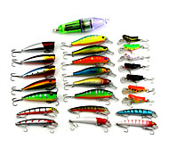 Super Combination 25pcs/Set Mixed Plastic Minnow Popper Insect And Fishing Lamp Set Random Colors