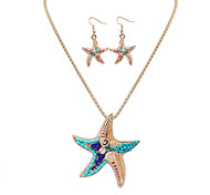 Women European Style Fashion Colorful Starfish Necklace Earrings Set Mermaid