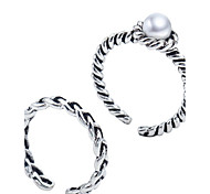 Antique Silver Vintage Style Pearl Open Band Midi Ring for Men/Women Jewelry(2PCS/Set)