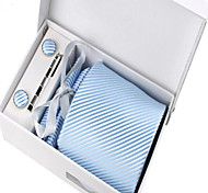 Men's Fashion Light Blue Striped Polyester Tie Set: Tie Hankie Cufflink Tie Clip with Box Bag