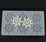 6 Hole Vessle's Steering Wheel Shape Chocolate Plugin Mold for Baking Decoration Baking Mold Silicone Material